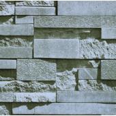 17111 3D Gri Taş Desenli Duvar Kağıdı