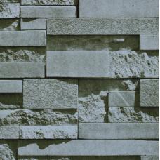 17181 3D Simli Gri Taş Desenli Duvar Kağıdı