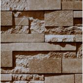 17182 3D Simli Bej Taş Desenli Duvar Kağıdı