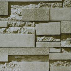 17183 3D Simli Krem Taş Desenli Duvar Kağıdı
